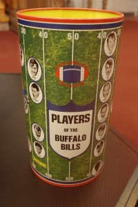 A Buffalo Bills garbage can from the collection of Bills fan Greg Tranter on display at the Buffalo History Museum, Tuesday, April 26, 2016. (Derek Gee/Buffalo News)