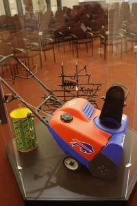 A Buffalo Bills snowblower from the collection of Bills fan Greg Tranter on display at the Buffalo History Museum, Tuesday, April 26, 2016. (Derek Gee/Buffalo News)
