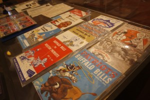 Gameday programs from the collection of Bills fan Greg Tranter on display at the Buffalo History Museum, Tuesday, April 26, 2016. (Derek Gee/Buffalo News)