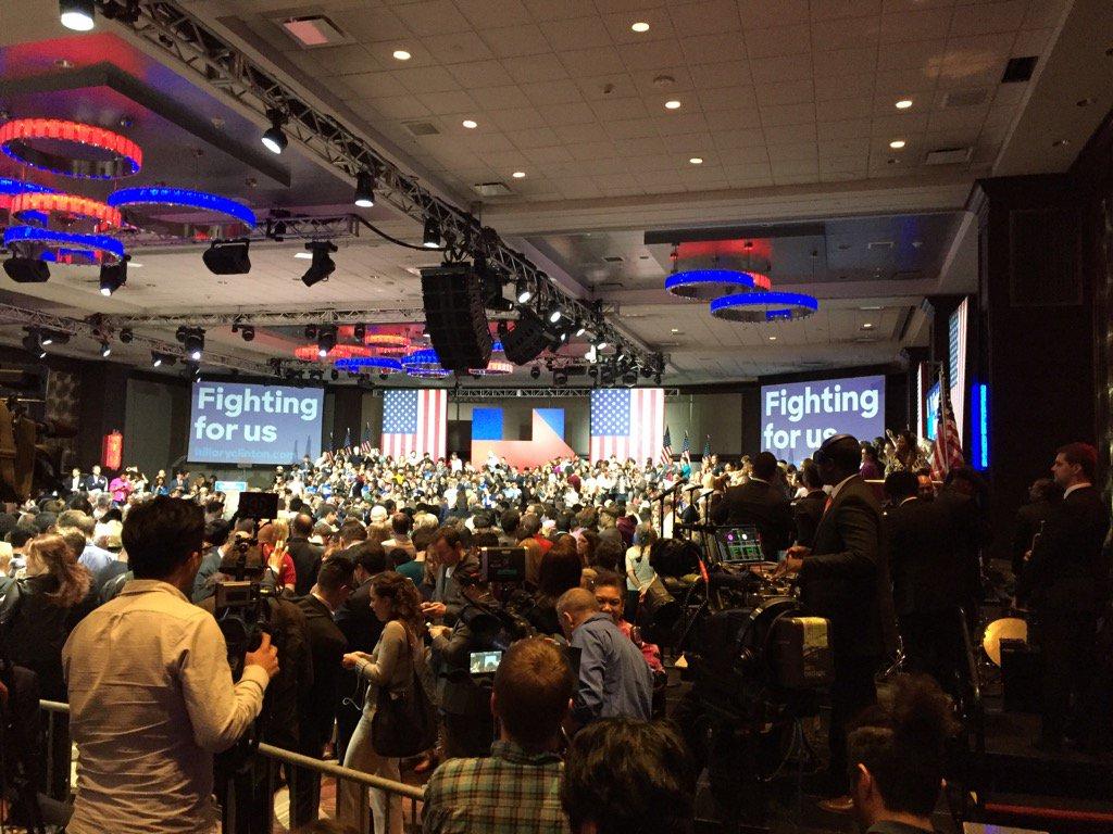 The scene at Hillary Clinton's headquarters in New York City as the polls closed. (Jerry Zremski/Buffalo News)