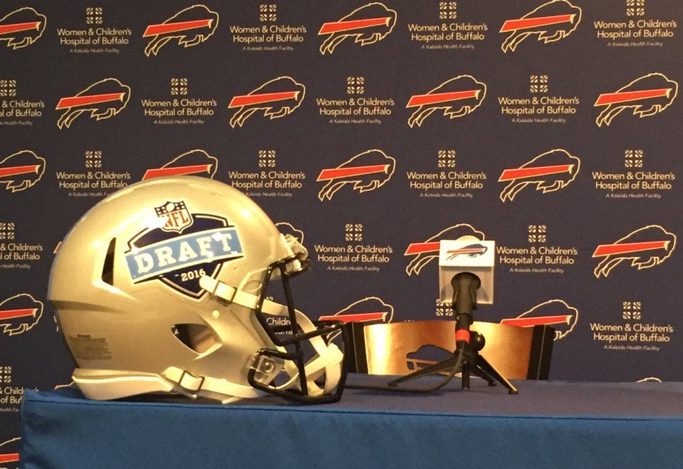 Ready to talk draft at One Bills Drive. (Vic Carucci/Buffalo News)