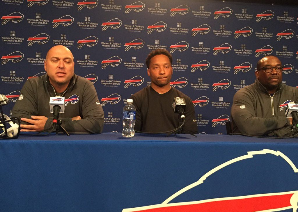 Director of Player Personnel Jim Monos. General Manager Doug Whaley and Director of College Scouting Kelvin Fisher. (Vic Carucci/Buffalo News)