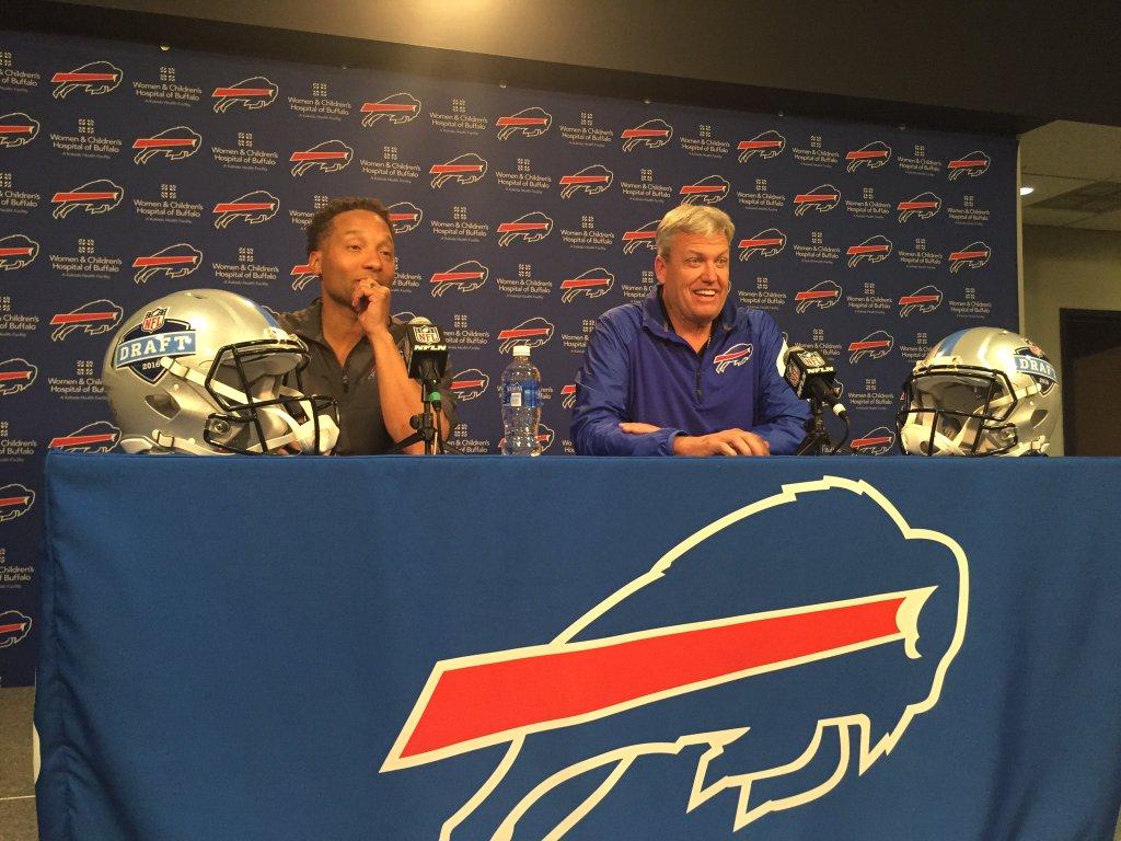 Doug Whaley (left) and Rex Ryan discuss the Bills' 2016 draft. (Tyler Dunne/Buffalo News)