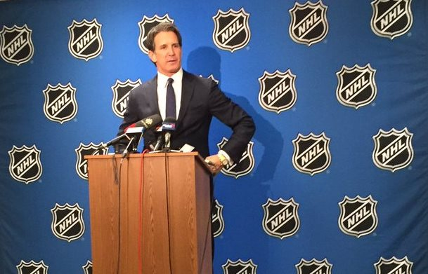 Toronto Maple Leafs president Brendan Shanahan meets the media after his team won the No. 1 pick. (John Vogl/Buffalo News)