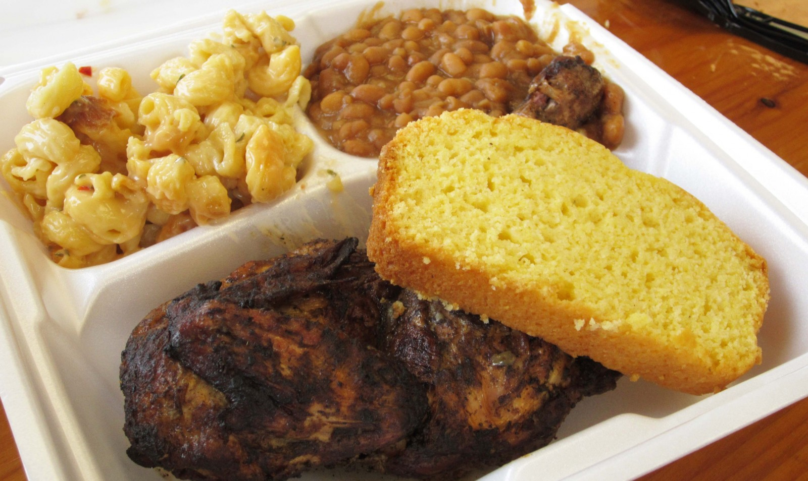 Chiavetta's half chicken with beans, really good mac and cheese and stellar cornbread, which was a sweeter version.