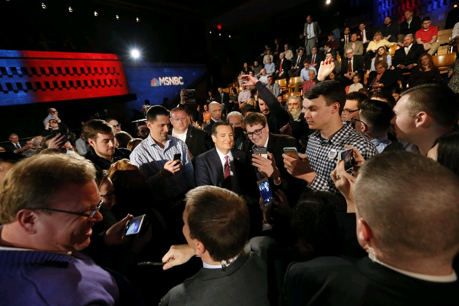 Sen. Ted Cruz meets with members of the audience during a commercial break in a town hall meeting sponsored by MSNBC at UB on Thursday. (Derek Gee/Buffalo News)