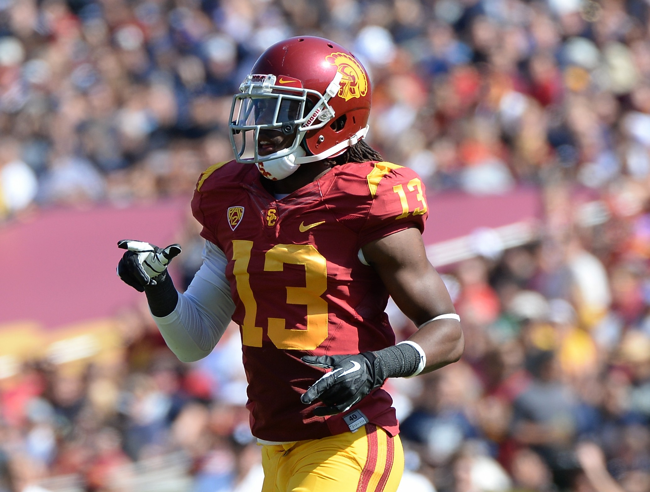 Kevon Seymour of the USC Trojans during a game against Utah State at the Los Angeles Memorial Coliseum on September 21, 2013. Getty Images)