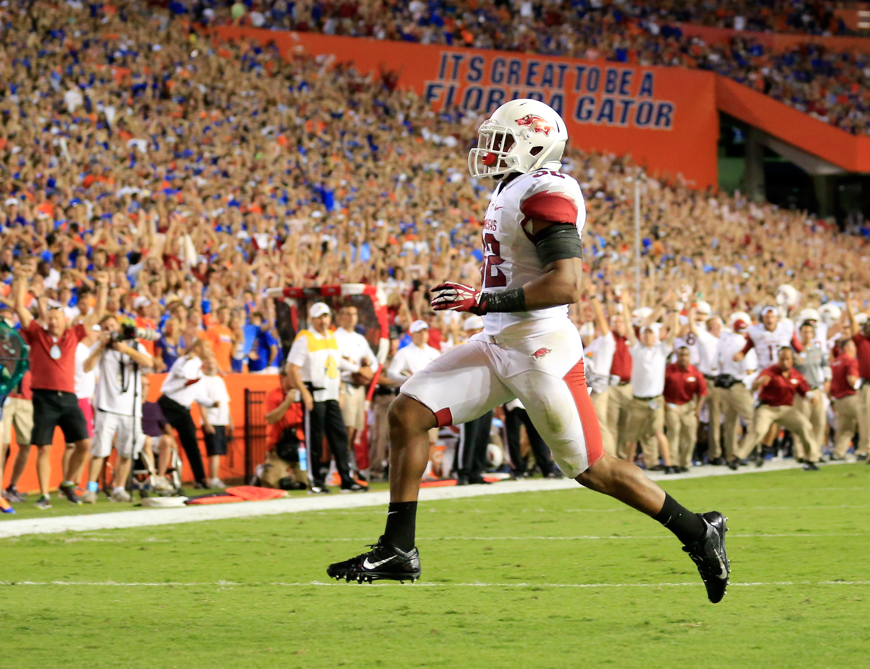 Jonathan Williams of the Arkansas Razorbacks crosses the goal line for a touchdown during the game against the Florida Gators at Ben Hill Griffin Stadium on October 5, 2013 in Gainesville, Florida.  (Getty Images)