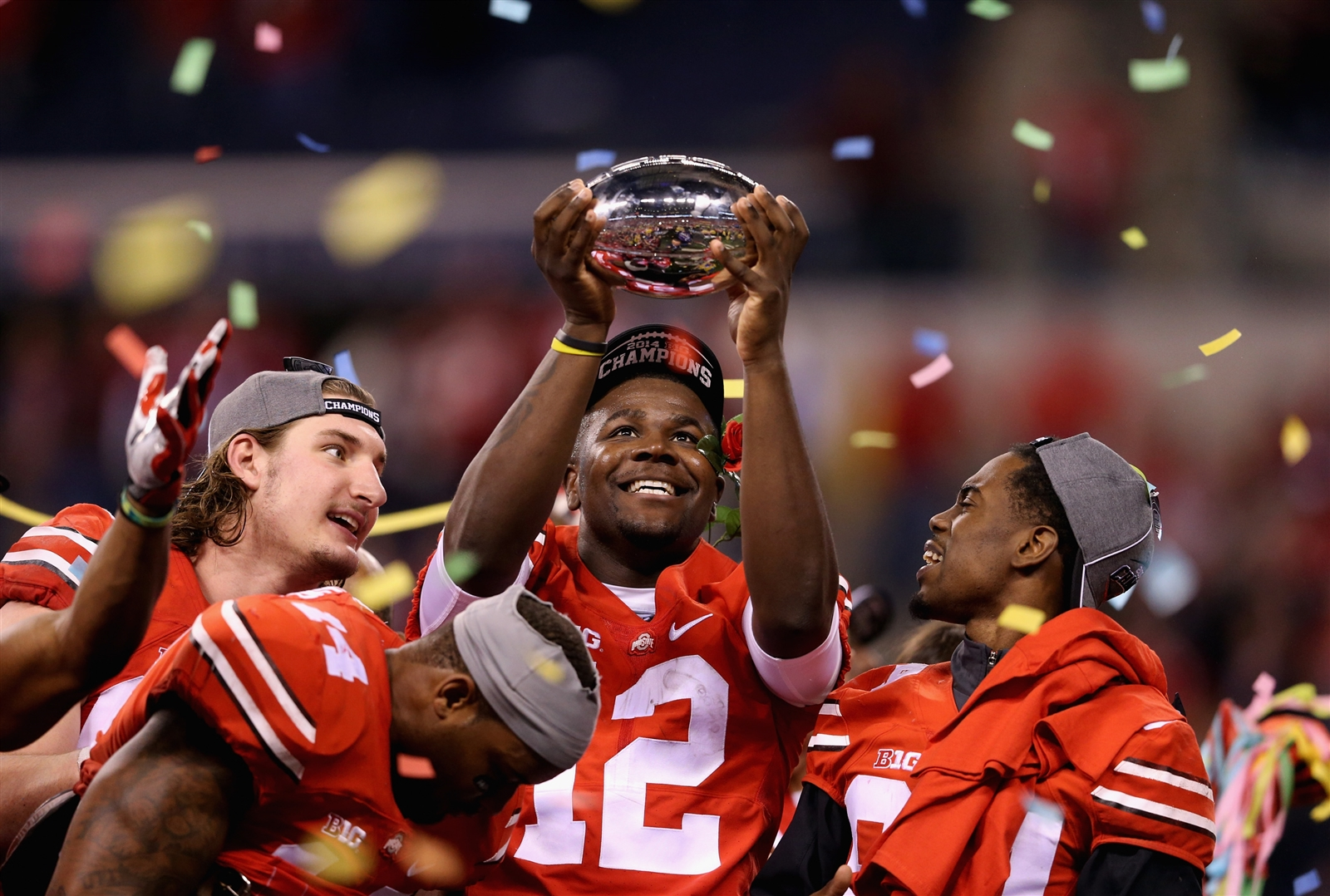 Cardale Jones, center, celebrates Ohio State's 2015 national championship. (Getty Images)