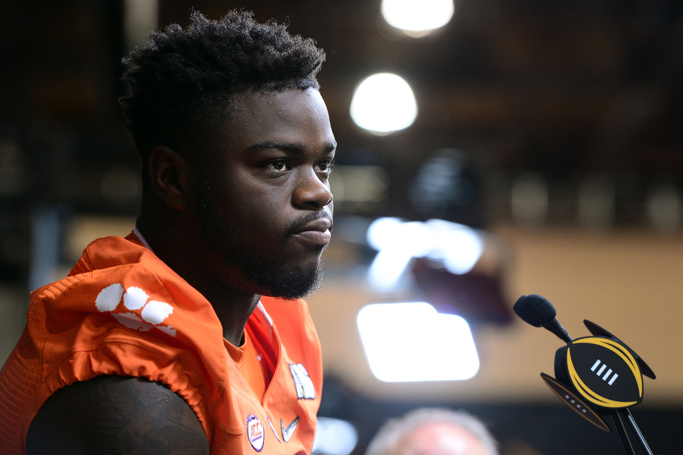 Shaq Lawson met the media via conference call soon after being drafted by the Buffalo Bills. This photograph is from interviews he did in advance of the College Football Playoff National Championship Game in January. (Getty Images)