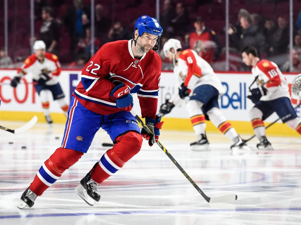 MONTREAL, QC - APRIL 05: John Scott of the Montreal Canadiens skates during the warmup prior to the NHL game against the Florida Panthers at the Bell Centre on April 5, 2016 in Montreal, Quebec, Canada. (Photo by Minas Panagiotakis/Getty Images)