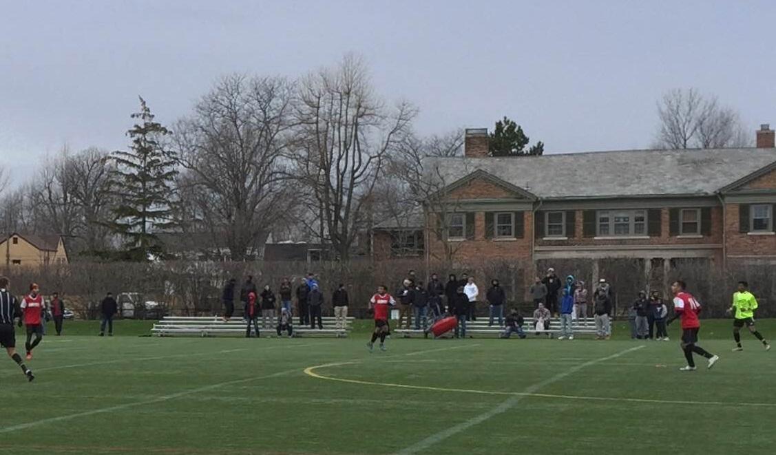 Roughly 100 fans took in FC Yemen's 3-0 loss at Nichols School. (Ben Tsujimoto/Buffalo News)