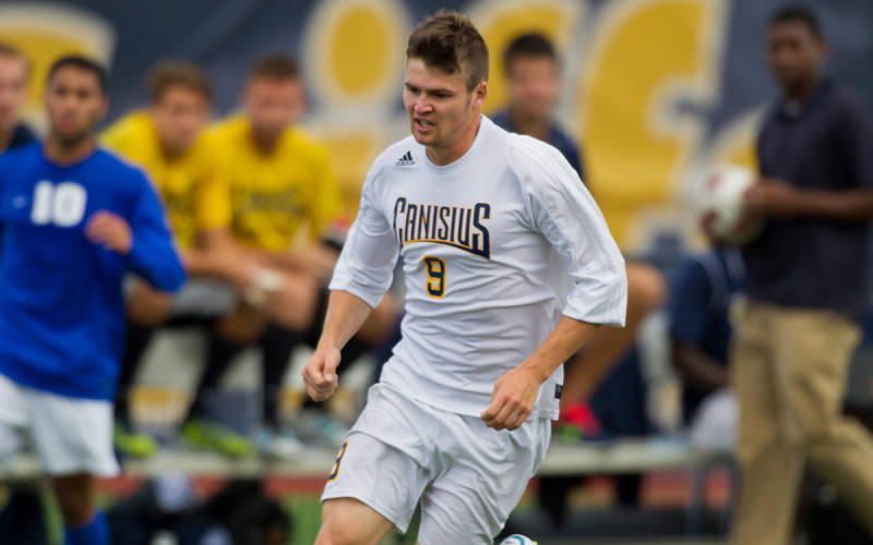 Don't let his friendly demeanor fool you; Regan Steele is lethal in the attacking third. (Canisius Athletics)