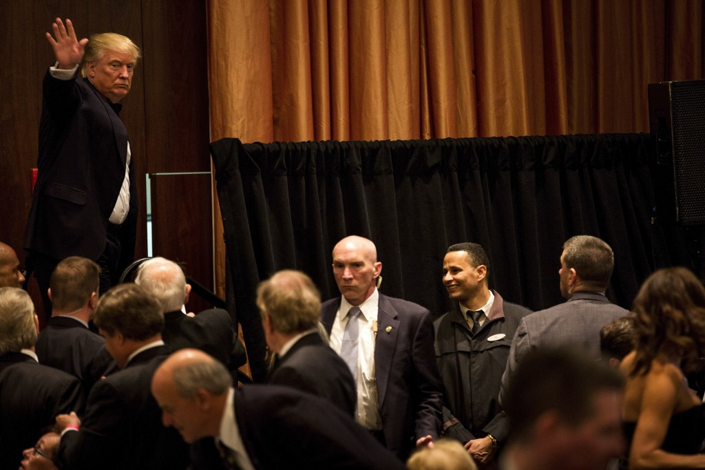 Donald Trump waves to the crowd after addressing the annual New York State Republican Gala, in the Manhattan Thursday. (New York Times)