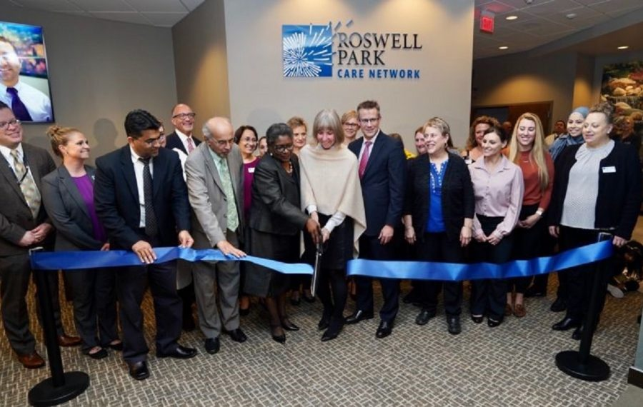 The new and expanded Roswell Park Hematology Oncology Southtowns center in Orchard Park will provide better cancer care for those in southern Erie County who need it, says Roswell Park Comprehensive Cancer Center President and CEO Candace S. Johnson, center. (Photo by Roswell Park Comprehensive Cancer Center)