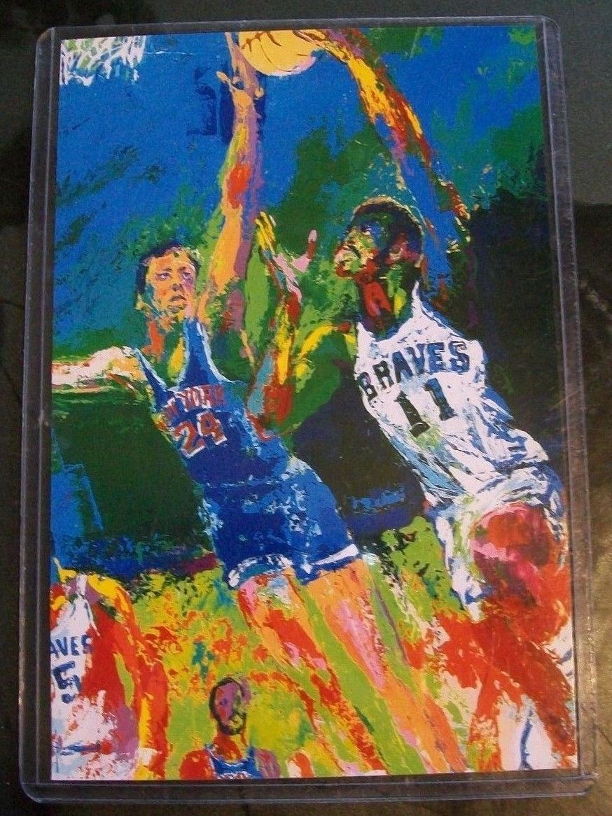 Leroy Nieman's painting of Bob McAdoo was reproduced on postcards like this one.