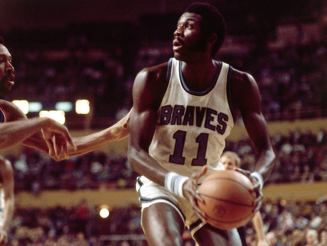 Bob McAdoo of the Buffalo Braves looks for his shot during a 1972 NBA game  at  Memorial Auditorium.  (Getty Images)
