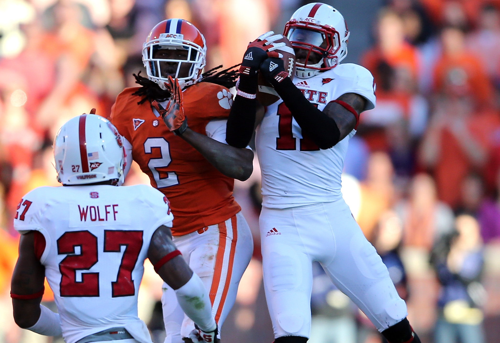 during their game at Memorial Stadium on November 17, 2012 in Clemson, South Carolina.