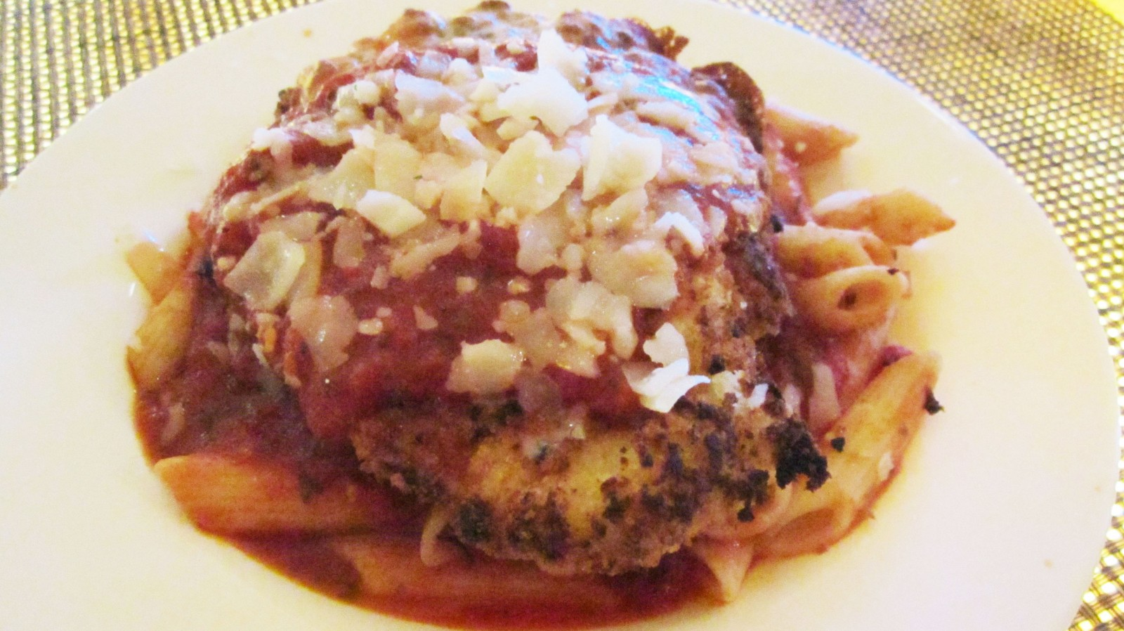 Chicken parmesan arrabbiata Tuesday dinner-at-the-bar special.
