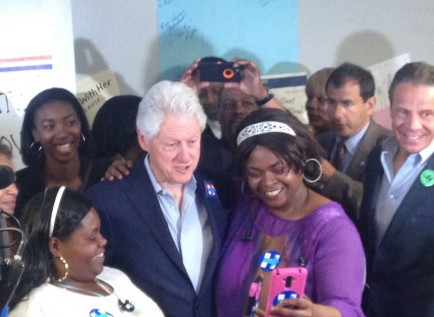 Former President Bill Clinton greeted Hillary Clinton supporters and volunteers at a phone bank at Erie County Democratic Headquarters on Monday morning. (Tiffany Lankes/Buffalo News)