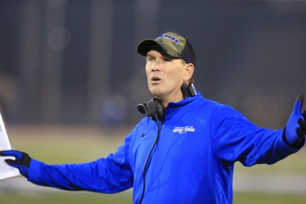 University at Buffalo coach Lance Leipold does not like a call against Northern Illinois during first half action at UB Stadium on Wednesday, Nov. 11, 2015.  (Harry Scull Jr./Buffalo News)