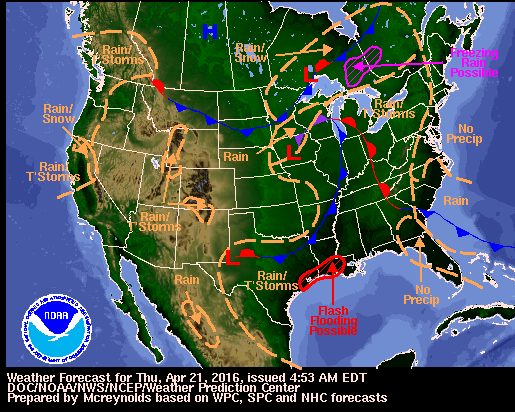 Today's weather map. (National Weather Service)