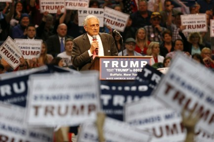 Carl Paladino speaks prior to Republican presidential candidate Donald Trump at the First Niagara Center on Monday. (Harry Scull Jr./Buffalo News)