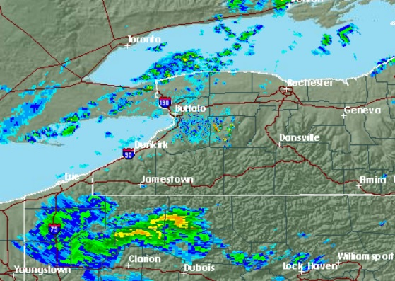 Rain showers were scattered around Western New York about 9:30 a.m. Monday. (NWS radar)