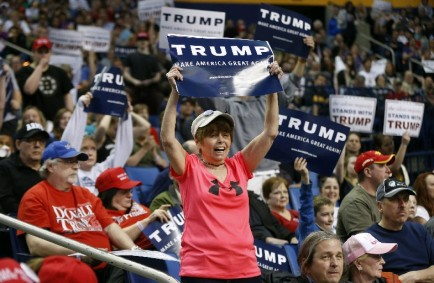 Supporters listen as Republican presidential candidate Donald Trump speaks at a campaign event at the First Niagara Center on Monday. (Harry Scull Jr./Buffalo News)