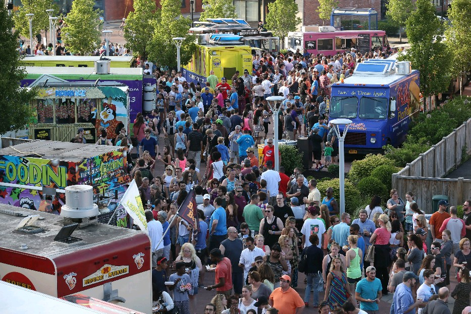 Food Truck Tuesdays resumes this week in Larkin Square. Each truck will offer at least one healthy option. (Sharon Cantillon/Buffalo News file photo)