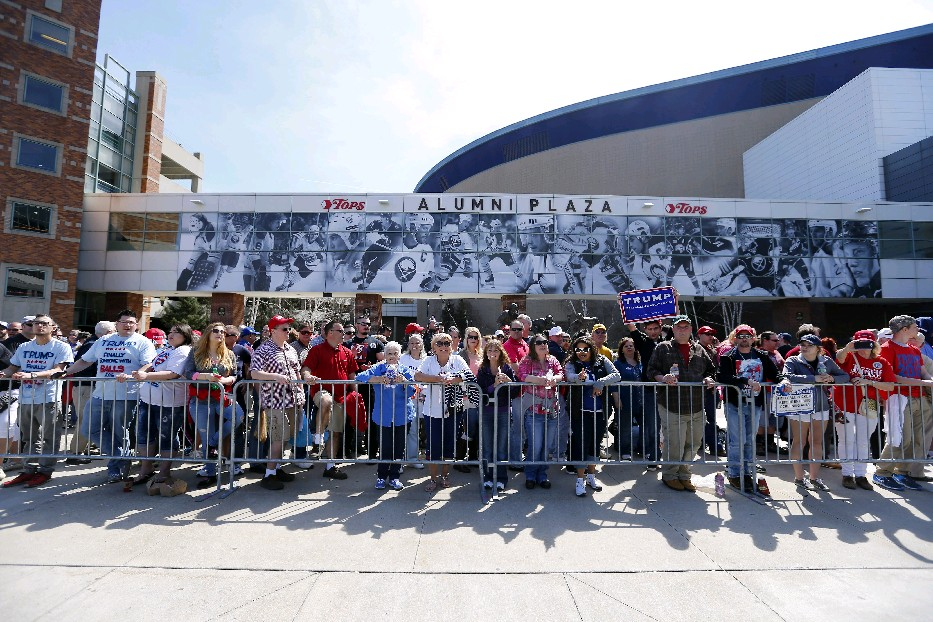 Donald Trump supporters line up before the rally at the First Niagara Center in Buffalo on Monday.   (Mark Mulville/Buffalo News)