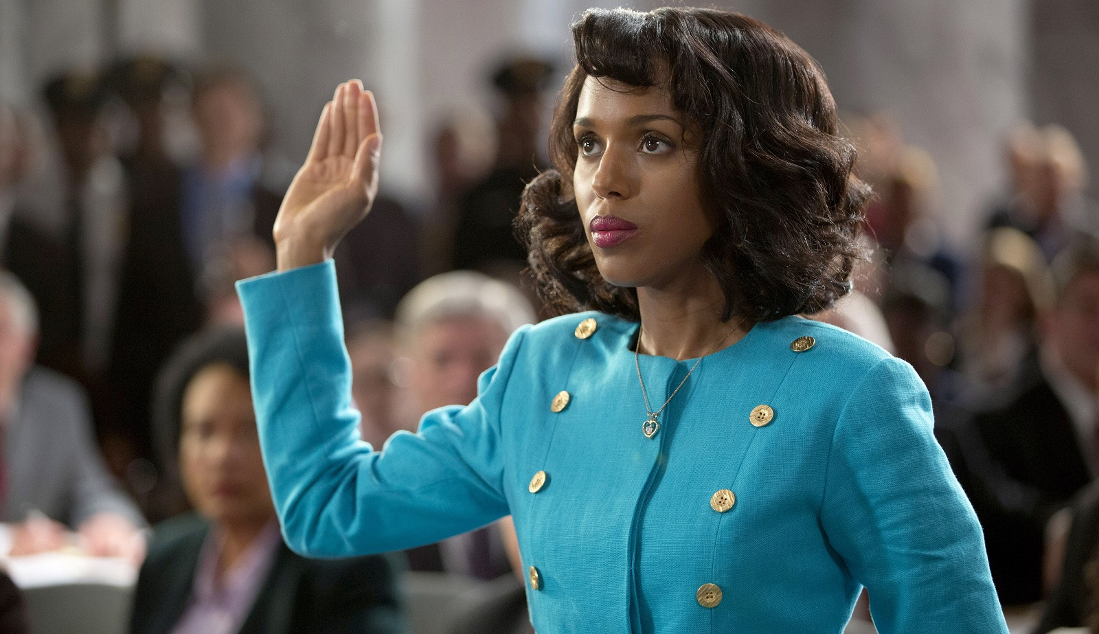 Kerry Washington plays Anita Hill in the HBO movie 'Confirmation,' which dramatizes Clarence Thomas' Supreme Court confirmation hearings in 1991. Hill had accused Thomas of sexual harassment in the workplace. (Frank Masi, HBO)