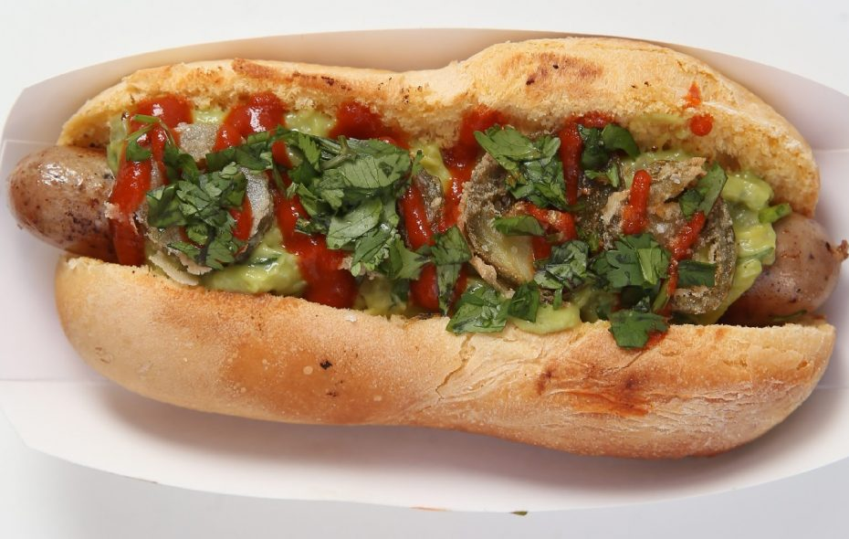 The Holy Moly hot dog is one of the most popular choices from Frank Gourmet Hot Dogs.  (Sharon Cantillon/Buffalo News)
