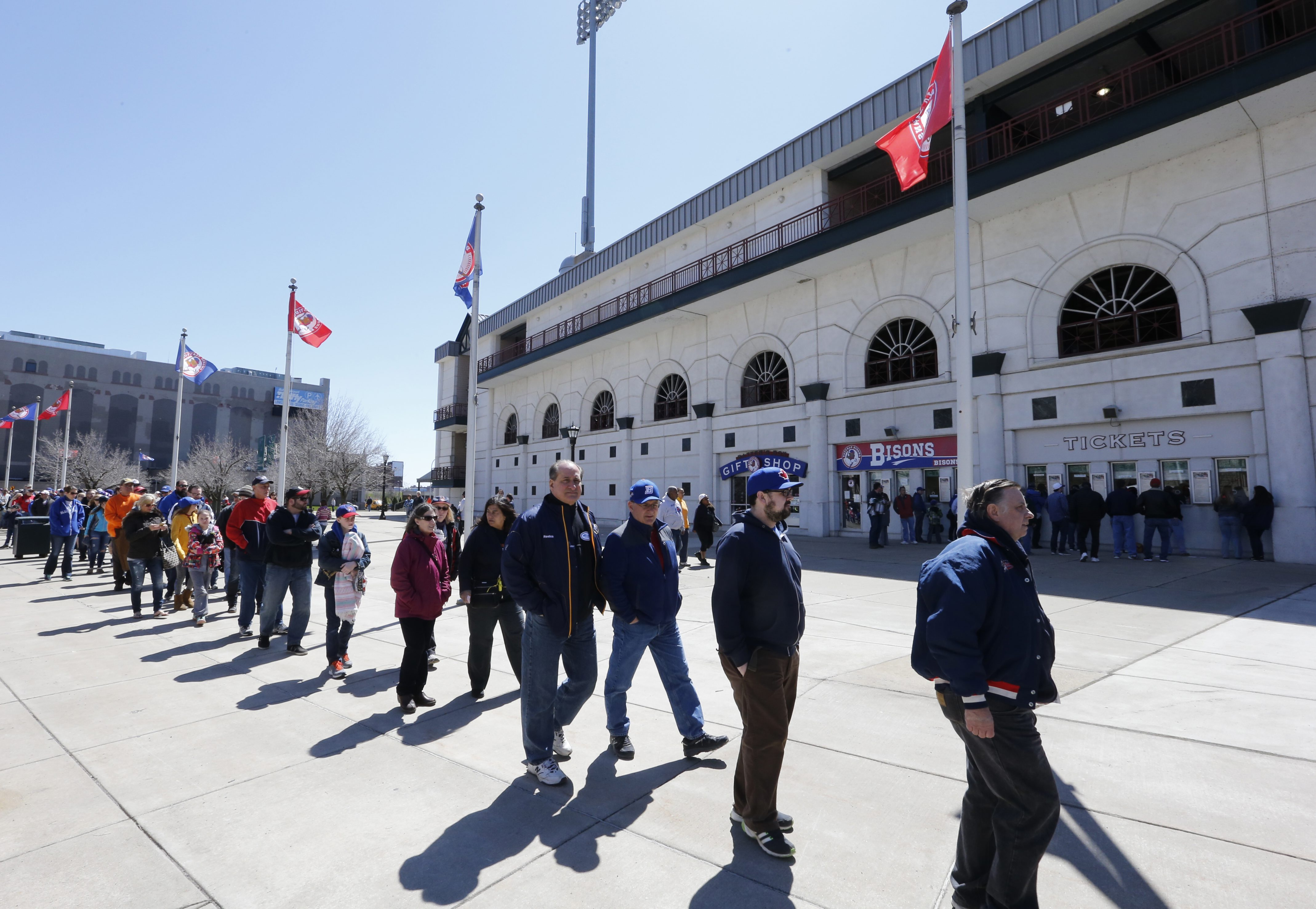 Buffalo Bisons fans wait for the gates to open prior to playing the Rochester Red Wings at Coca-Cola Field on Thursday, April 14, 2016. (Harry Scull Jr./Buffalo News)