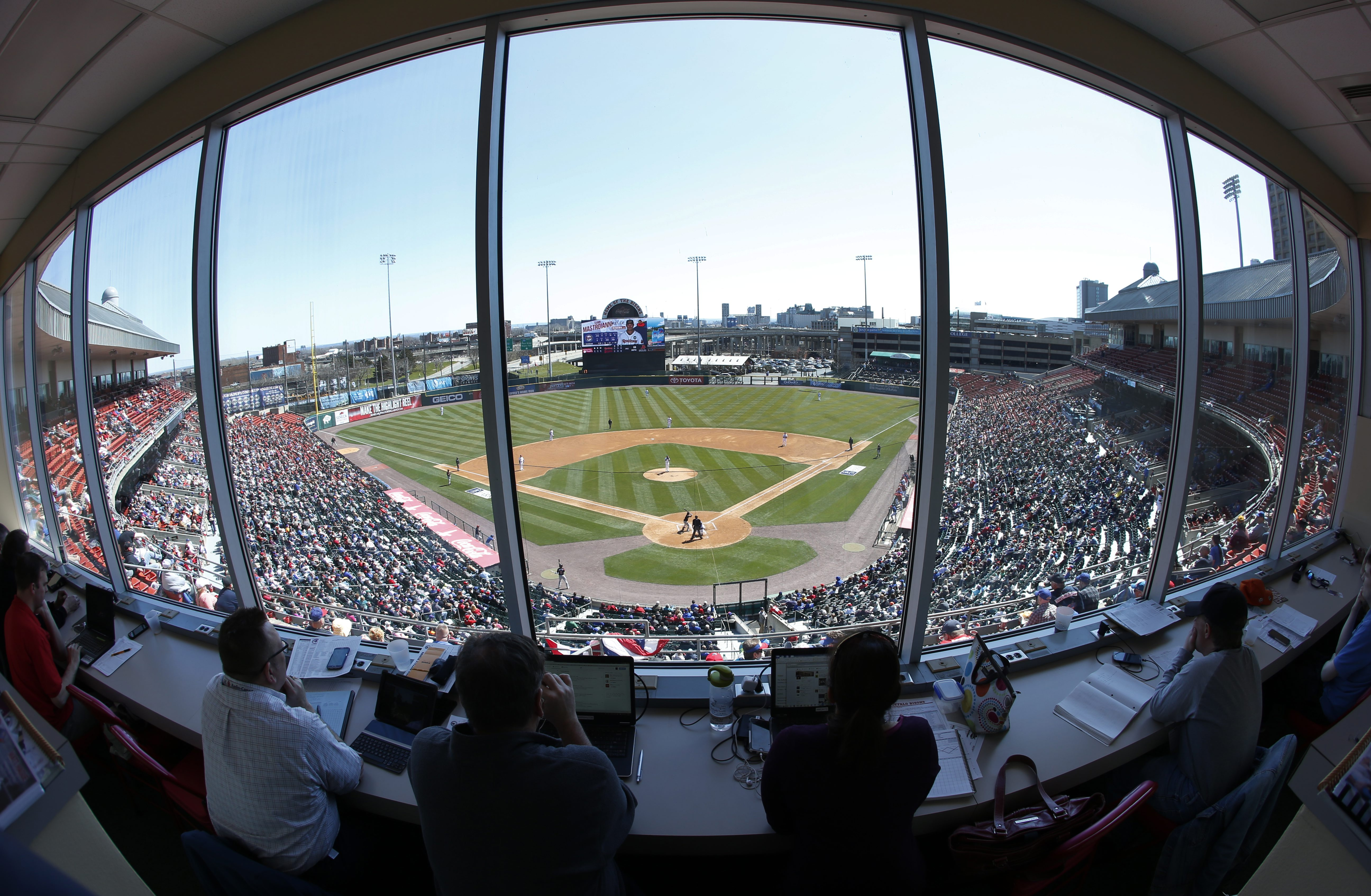 Opening day from the press box between the Buffalo Bisons and Rochester Red Wings at Coca-Cola Field on Thursday, April 14, 2016. (Harry Scull Jr./Buffalo News)