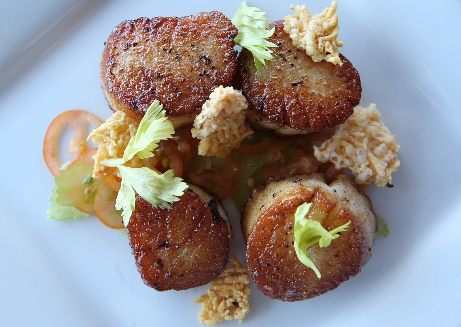 Seared sea scallops are with tomato and celery salad, parmesan crisps and lemon oil. (Sharon Cantillon/Buffalo News)
