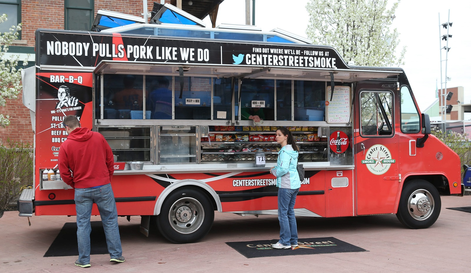 Center Street Smoke House's food truck comes all the way from Batavia to Larkin Square for Food Truck Tuesdays. (Sharon Cantillon/Buffalo News)