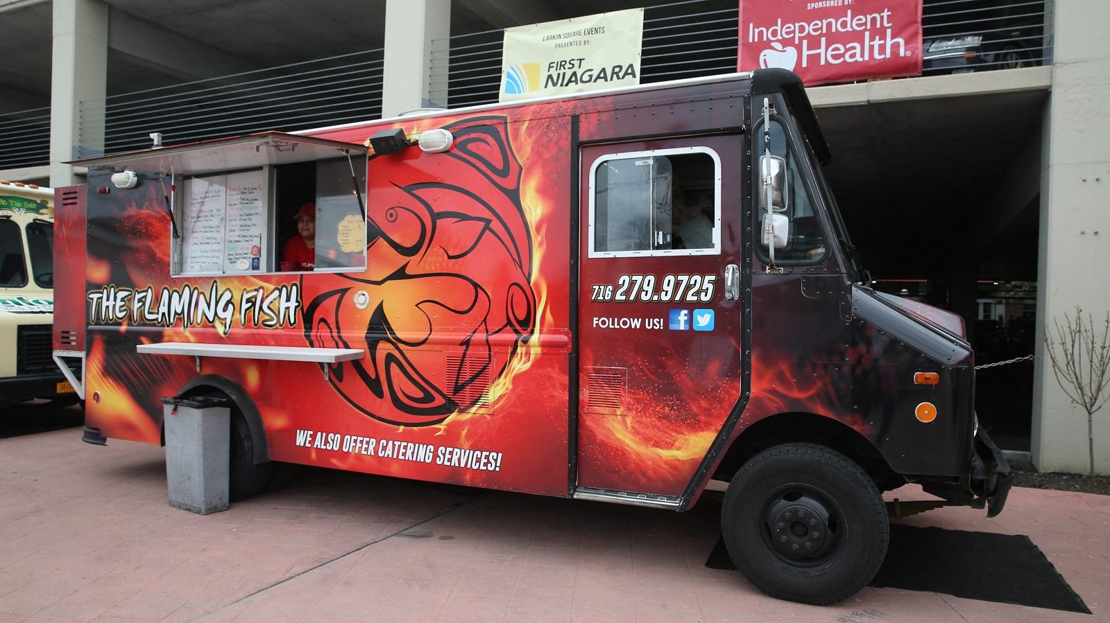 The Flaming Fish food truck serves at Food Truck Tuesdays. (Sharon Cantillon/Buffalo News)