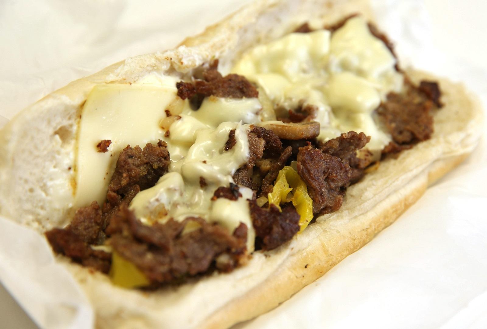 Philly cheesesteak sandwich from DJ Cafeteria. (Sharon Cantillon/Buffalo News)
