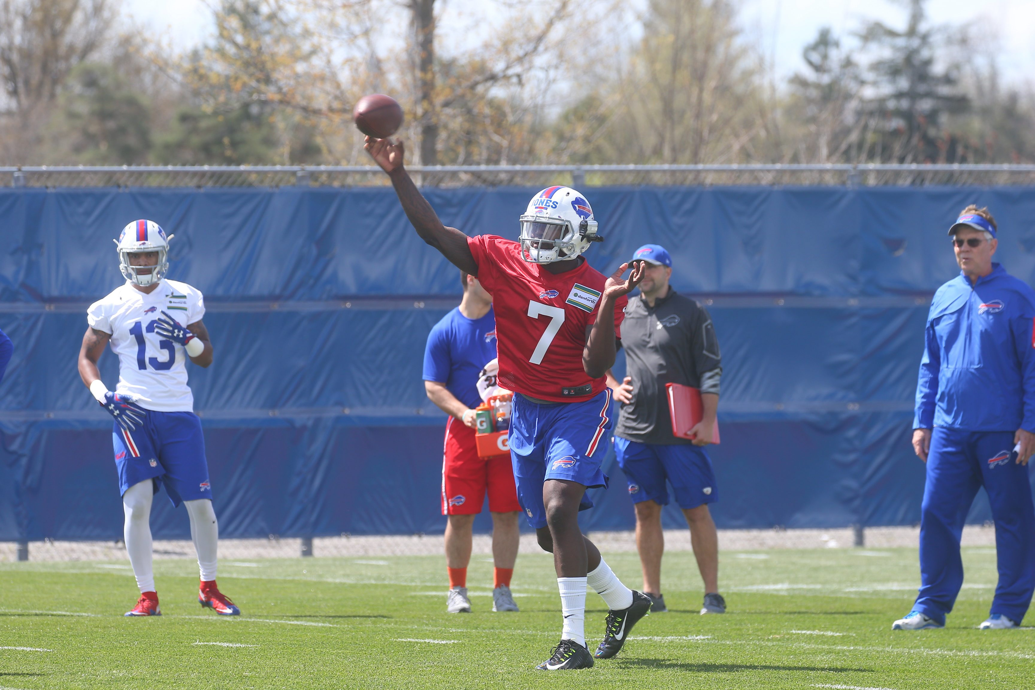 Buffalo Bills QB Cardale Jones (7) throws at Bills rookie camp at the grass practice field, in Orchard Park, N.Y., on Friday May 6, 2016. (John Hickey/Buffalo News)