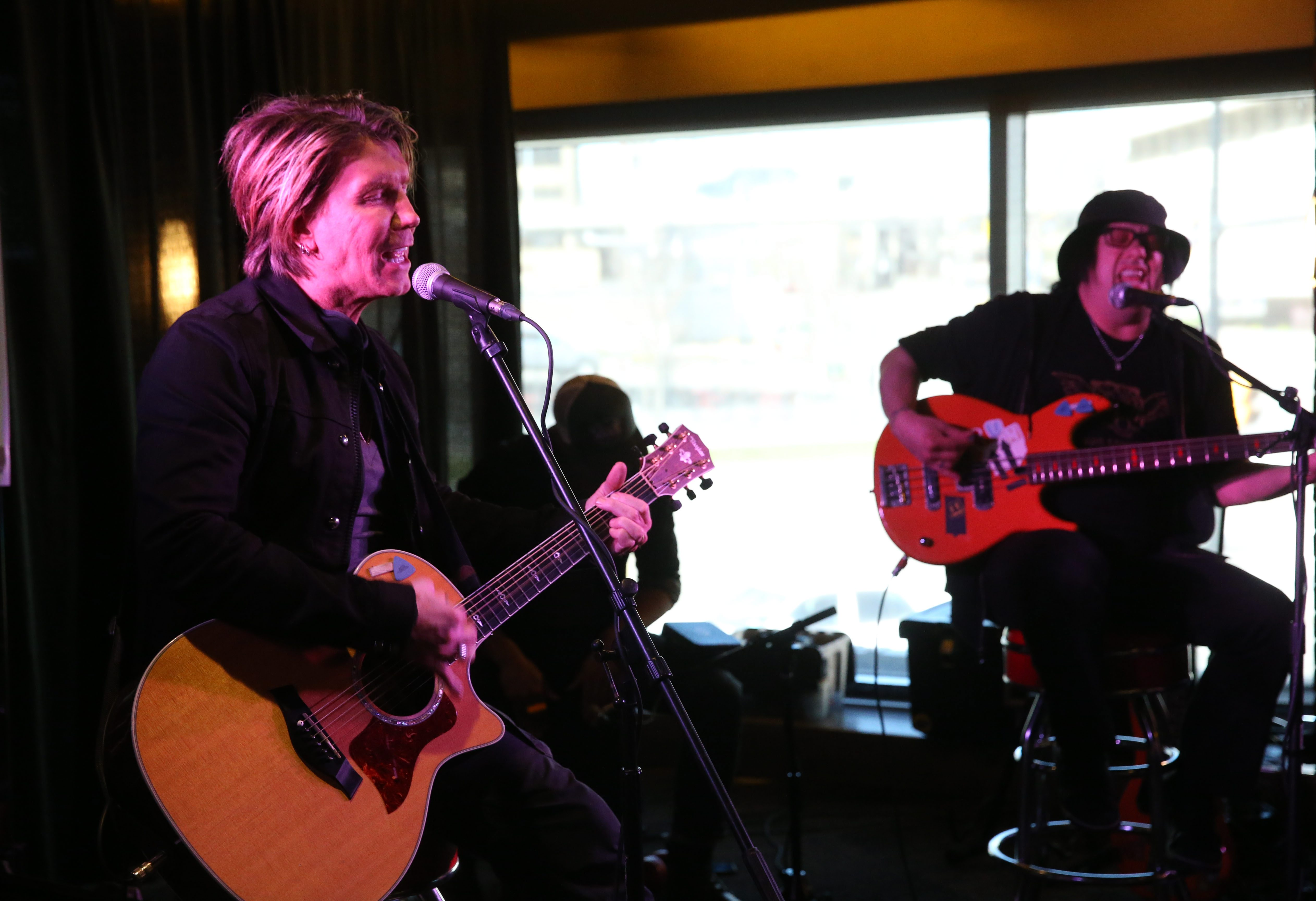 Goo Goo Dolls perform a short acoustic show  as part of a record release at 716 Food and Sport.  From left are John Rzeznik and Robby Takac.  (Sharon Cantillon/Buffalo News)