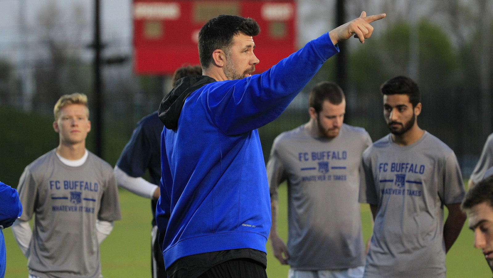 Head coach Brendan Murphy instructs during a training session. (Harry Scull Jr./Buffalo News)