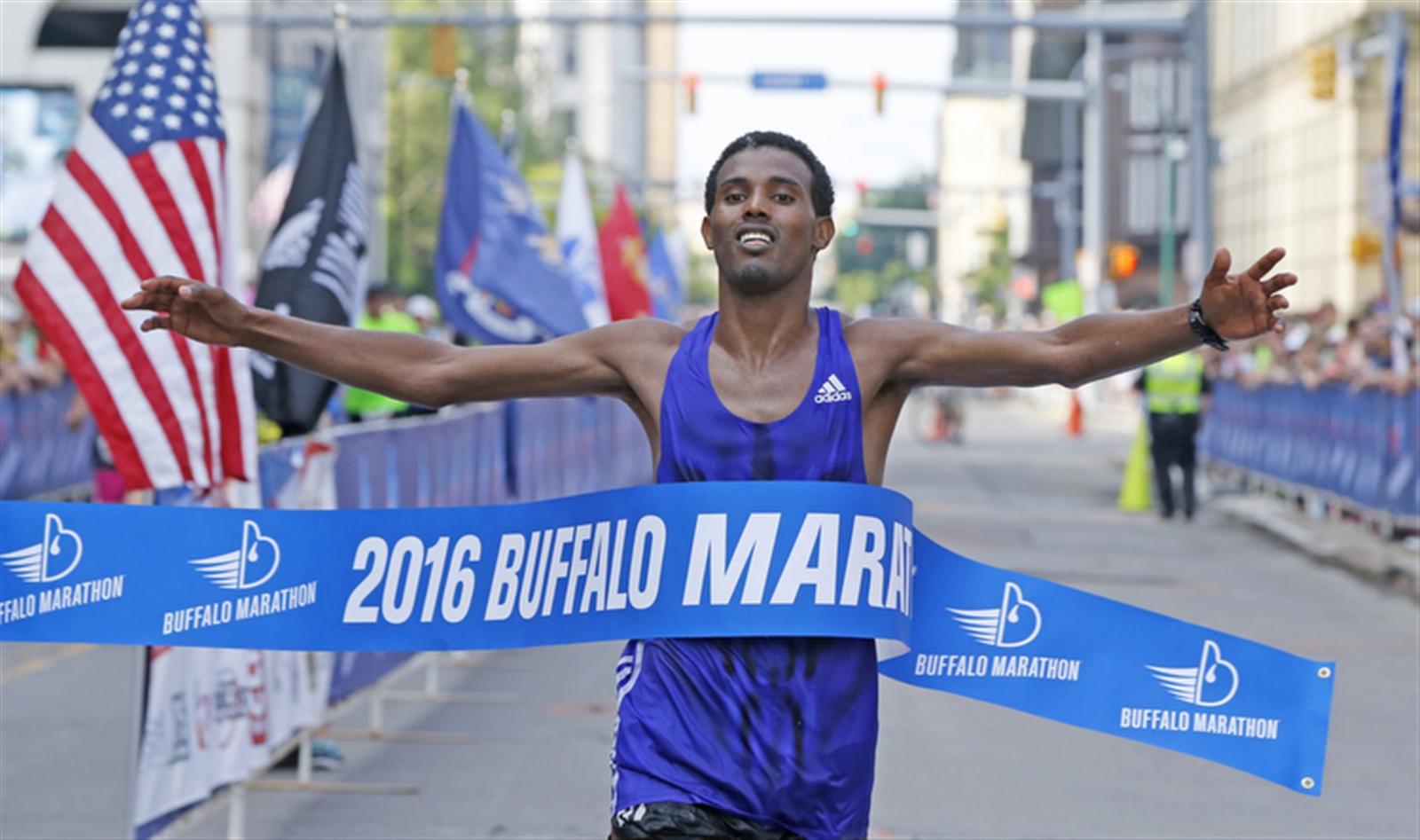 Senbeto Geneti Guteta of Ethiopia wins the Buffalo Marathon. (Harry Scull Jr./Buffalo News)