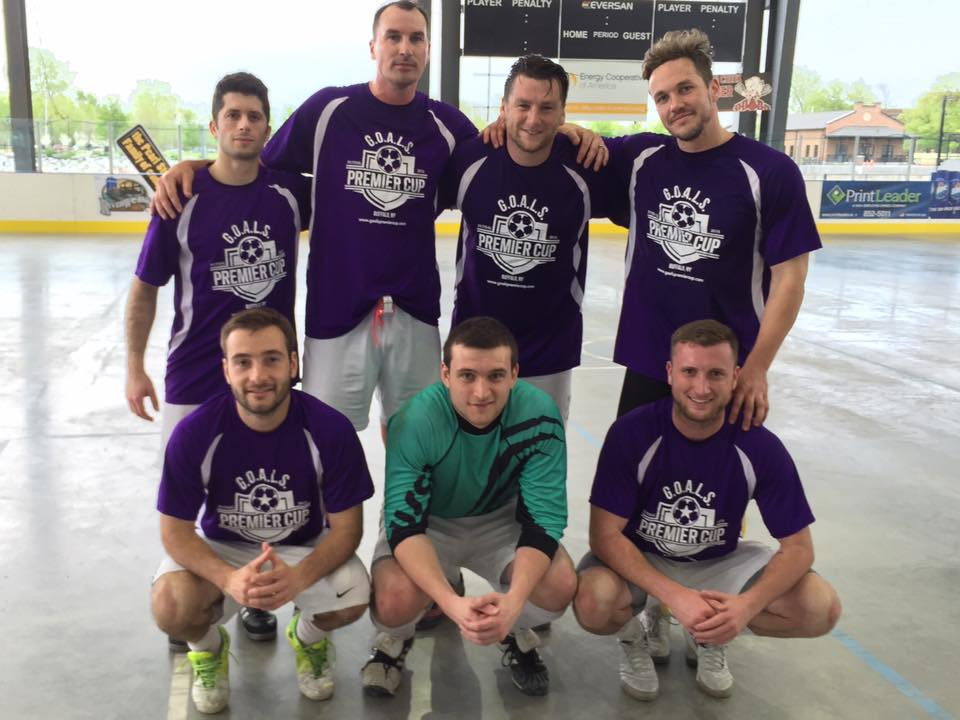 Top row, from left: Andrea Conte (Clarence), Matt Waddington (Raiders), Gavin Falconer (unattached), Jake Schindler (Rochester River Dogz); bottom row: John Grabowski (Raiders), Brian Corretore (Amherst Alliance) and Gary Boughton (Clarence) won the inaugural G.O.A.L.S. Premier Cup on May 21. (Ben Tsujimoto/Buffalo News)