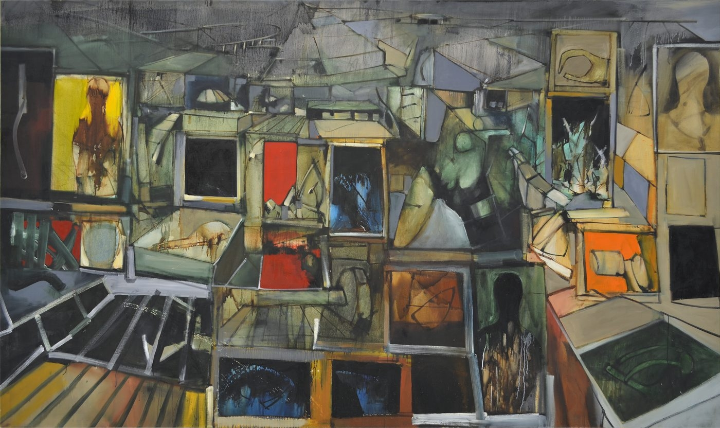 """John Hultberg's 1957 painting """"Panorama"""" is on view in the University at Buffalo Anderson Gallery's exhibition """"On the Front Lines: Military Veterans at the Art Students League of New York."""""""