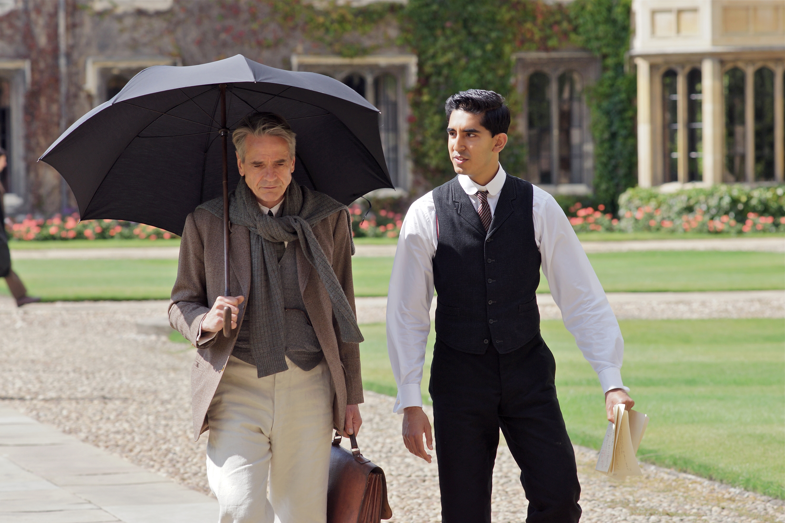 "Jeremy Irons, left, and Dev Patel star in ""The Man Who Knew Infinity."""