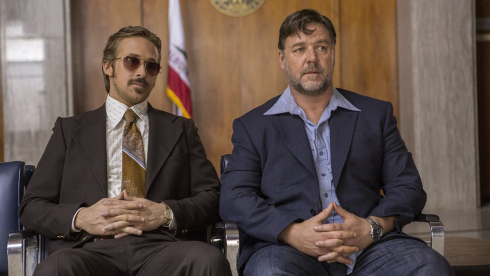 "Ryan Gosling, left, and Russell Crowe in ""The Nice Guys."""