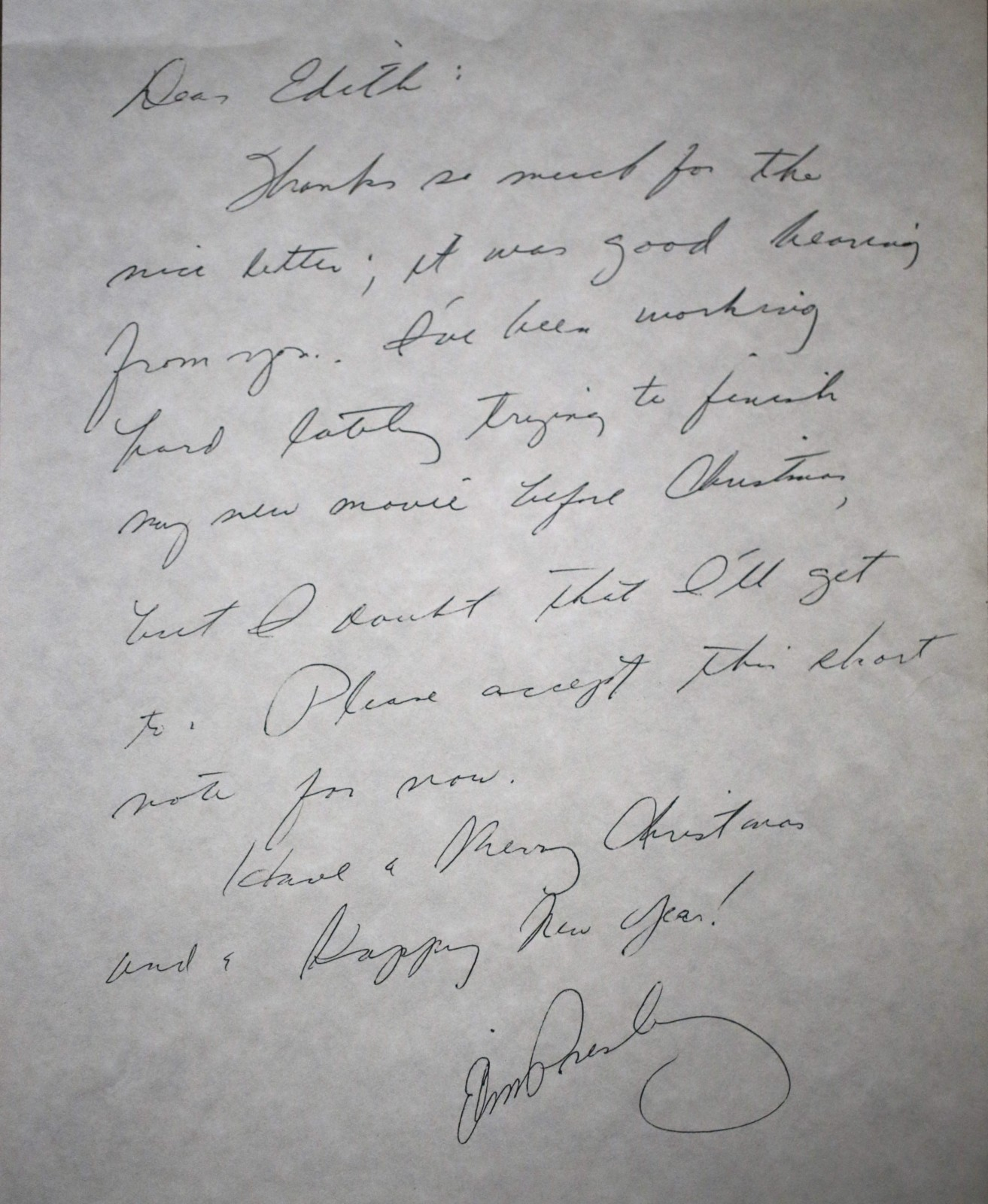 """This is the letter I once owned. Look at the bubble Y, Elvis never bubbled his writing out. I didn't have a lot of samples back then, but when I looked at this writing, thinking about Elvis Presley and his personality, this is a curvy, curly writing, which in my mind looks like it would have been written by a female rather than a male. She did a decent job of copying his signature. The E is left out of the end of his name."" VERDICT: A secretarial, written and signed by a friend or employee of Elvis."