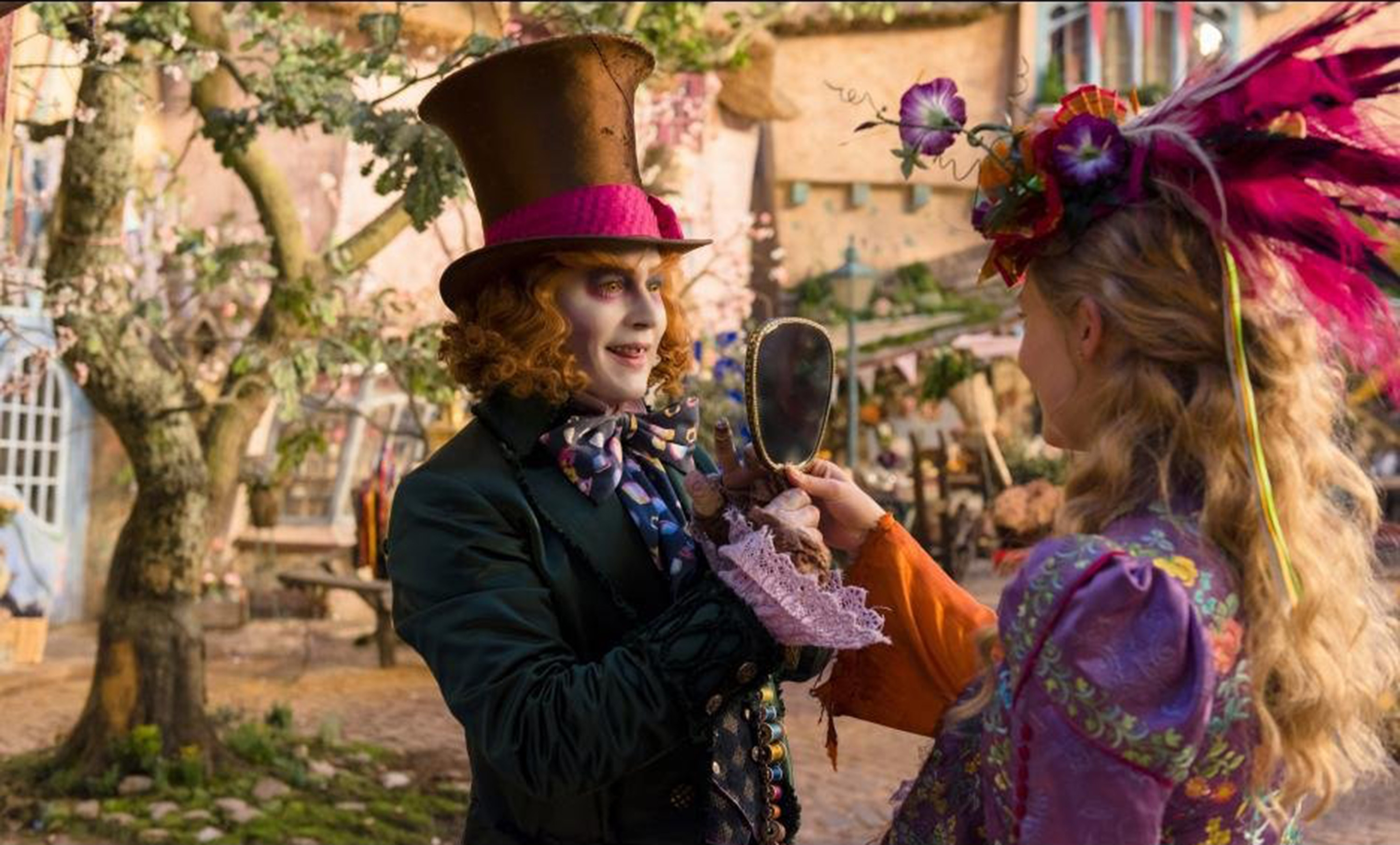 "Johnny Depp and Mia Waskikowska in ""Alice Through the Looking Glass."""