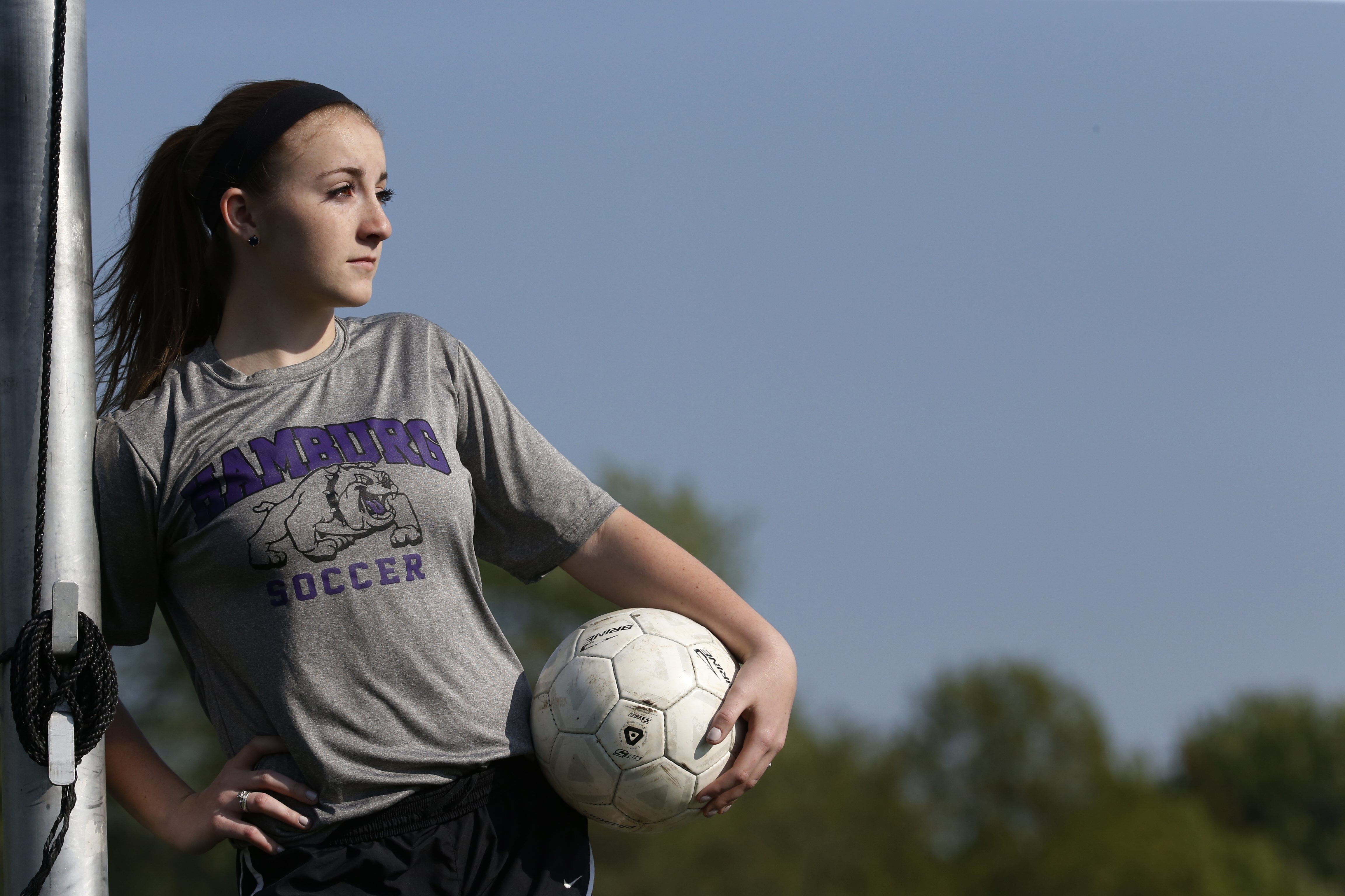 Hamburg soccer goalie Julia Whipple is part of a study on concussions and teenagers conducted by University at Buffalo researchers at UBMD Orthopaedics and Sports Medicine. (Harry Scull Jr./Buffalo News)
